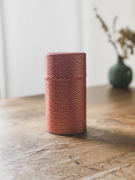 Boite à thé papier Washi Eventails rouge - 100G