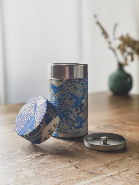 Boite à thé papier Washi bleues - fleurs dorées - 100G