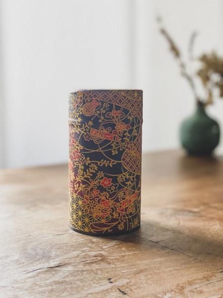 Boite à thé papier Washi noire - fleurs rouges - 100G