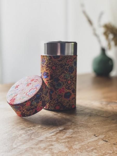 Boite à thé papier Washi rouge - fleurs multicolores - 100G