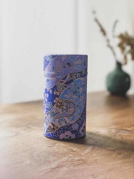 Boite à thé papier Washi Bleue - Violette - Dorée - 100G