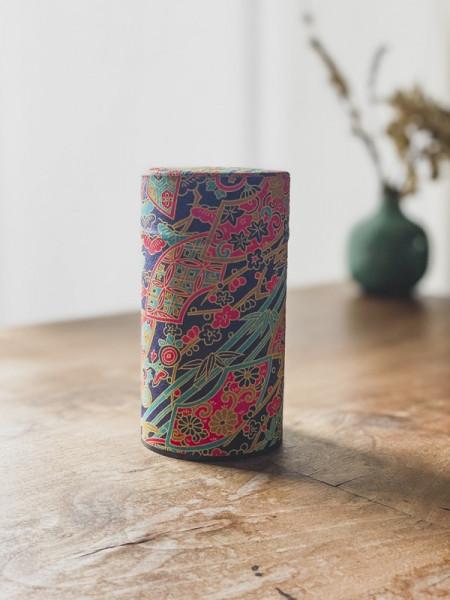 Boite à thé papier Washi Éventails - Noire - 100G