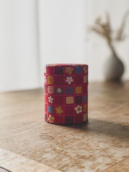 Boite à thé papier Éventails- Bleue - 100G