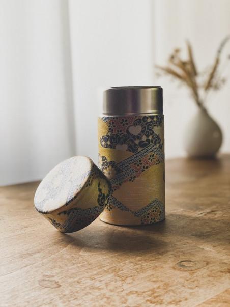 Boite à thé Dorée - Fleurs et coeurs- 200g