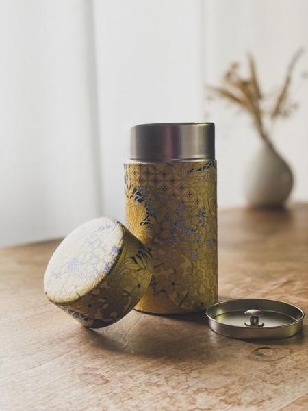 Boite à thé Feuilles Dorées - Noire - 200g