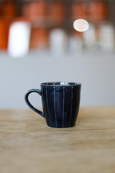 Tasse rayée Bleu